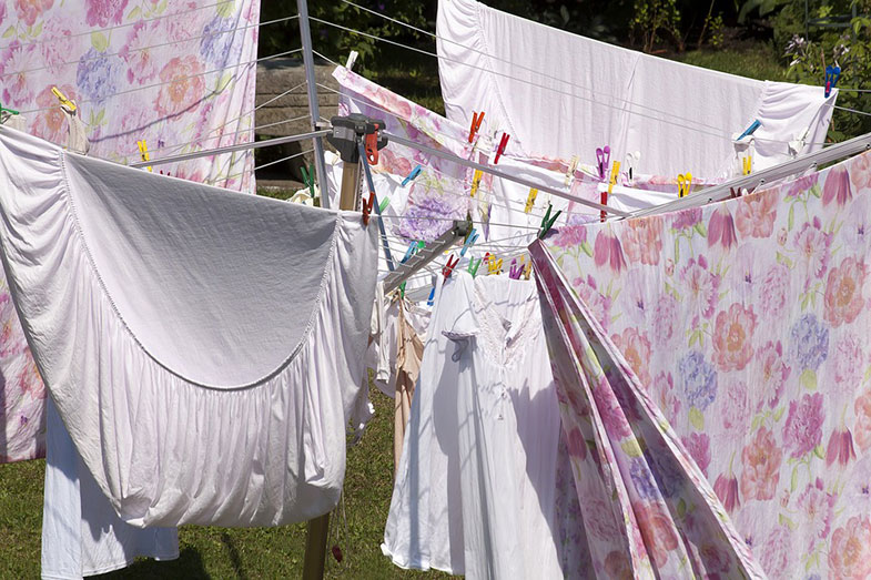 Bed Sheets on Clothes Line Outside