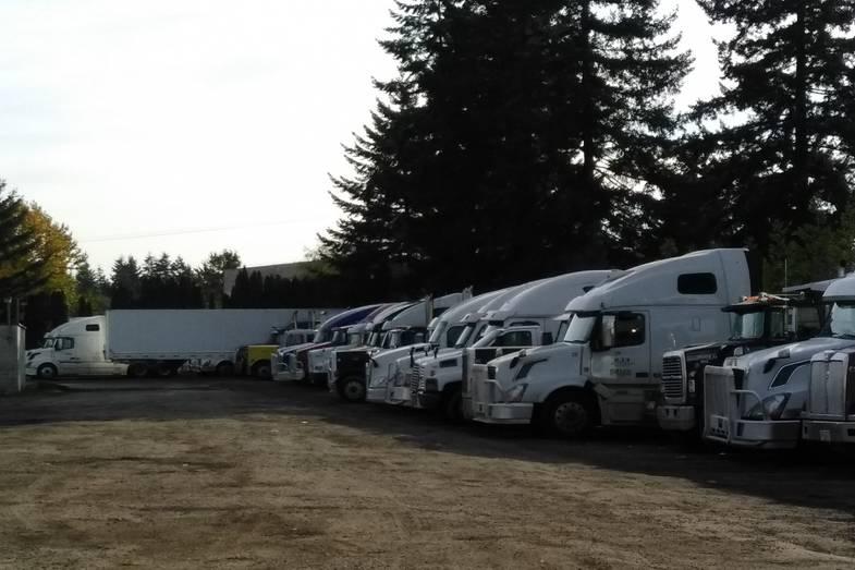Semi Truck Parking Lot
