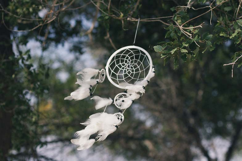 White Dream Catcher Blowing in the Wind