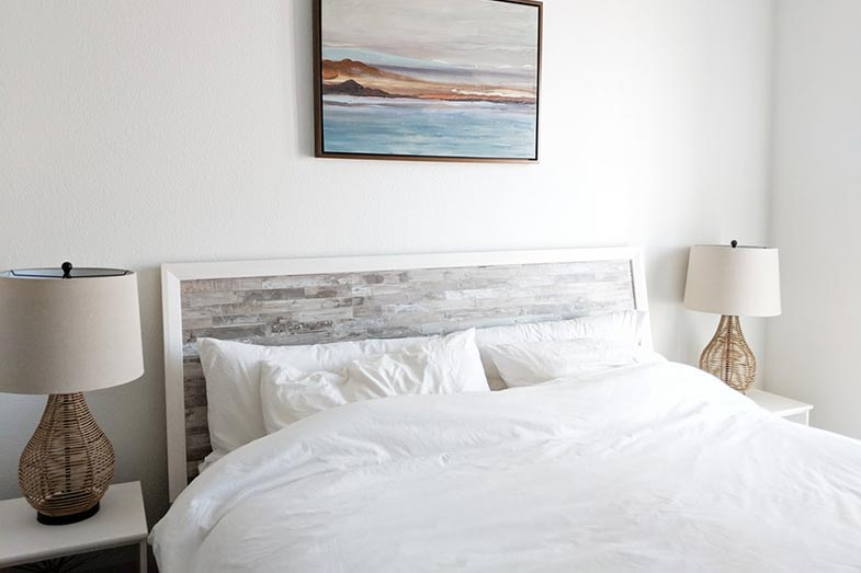 Big White Bed With Pillows