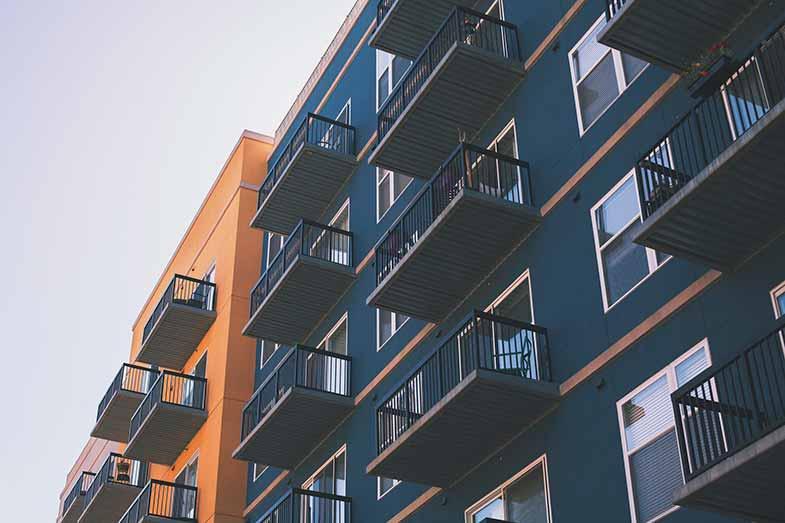 Blue and Orange Apartment Building