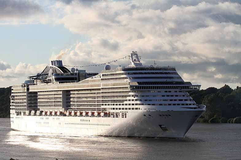 Large Cruise Ship out at Sea