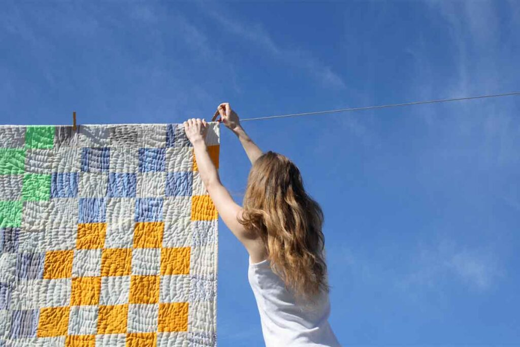 Drying Blanket Outside